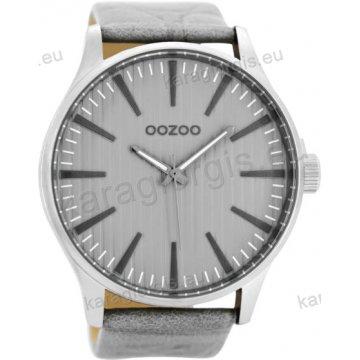 Ρολόι OOZOO timepieces ανδρικό-γυναικείο με γκρι δερμάτινο λουράκι σε γκρι καντράν 50mm