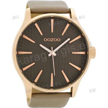 Ρολόι OOZOO timepieces ανδρικό-γυναικείο rose gold με γκρι δερμάτινο λουράκι σε μαύρο καντράν 50mm