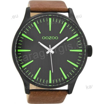 Ρολόι OOZOO timepieces ανδρικό-γυναικείο μαύρο με καφέ δερμάτινο λουράκι σε μαύρο καντράν 50mm