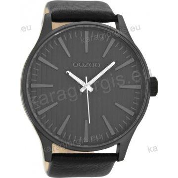 Ρολόι OOZOO timepieces ανδρικό-γυναικείο με μαύρο δερμάτινο λουράκι σε μαύρο καντράν 50mm