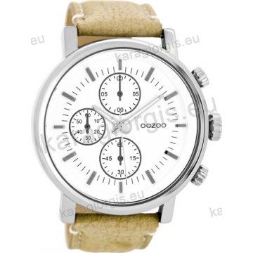 Ρολόι OOZOO timepieces ανδρικό-γυναικείο με ταμπά δερμάτινο λουράκι σε  λευκό καντράν με ενδείξεις χρονογράφου 50c06adf595