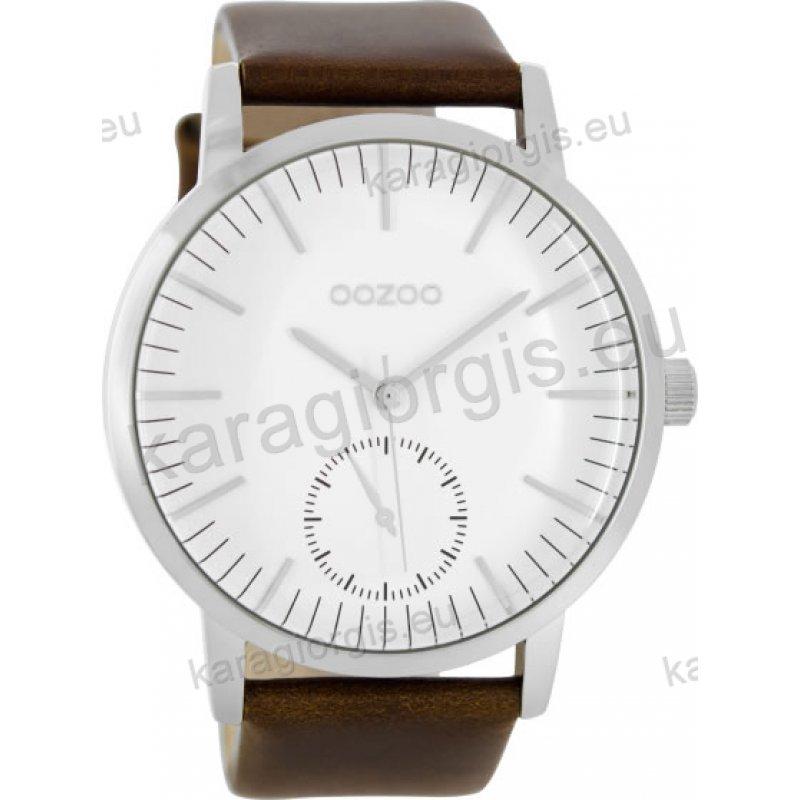 Ρολόι OOZOO timepieces ανδρικό-γυναικείο με καφέ δερμάτινο λουράκι σε ασημί  καντράν 48mm 477bce1dc95