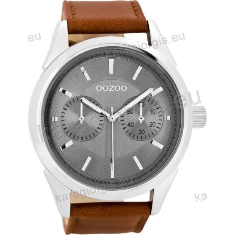 Ρολόι OOZOO timepieces ανδρικό-γυναικείο με καφέ δερμάτινο λουράκι σε γκρι  καντράν και ενδείξεις χρονογράφου 7d8411f8f02