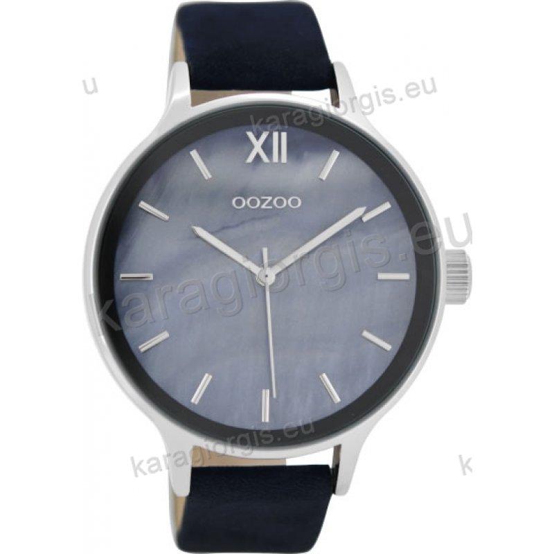 Ρολόι OOZOO timepieces γυναικείο με μαύρο δερμάτινο λουράκι σε μπλέ  φίλντισι καντράν 45mm d58f9e63937