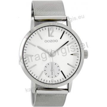 Ρολόι OOZOO timepieces γυναικείο-ανδρικό με μπρασελέ ψάθα σε ασημί καντράν  40mm 850119ddc8d