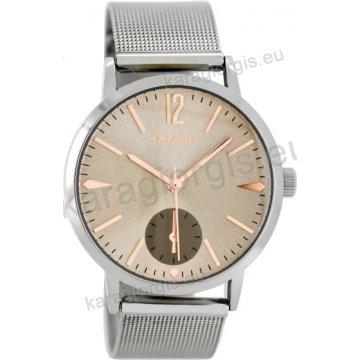 Ρολόι OOZOO timepieces γυναικείο-ανδρικό με μπρασελέ ψάθα σε γκρι καντράν  40mm fe60337cdca