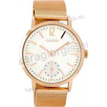 Ρολόι OOZOO timepieces γυναικείο-ανδρικό rose gold με μπρασελέ ψάθα σε  άσπρο καντράν 40mm 3ef9faae944