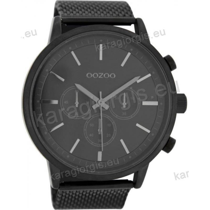 Ρολόι OOZOO timepieces γυναικείο-ανδρικό total black με ψάθα μπρασελέ σε  μαύρο καντράν με ενδείξεις f6a3cf2b6d7