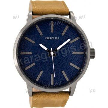 Ρολόι OOZOO timepieces γυναικείο-ανδρικό με ταμπά δερμάτινο λουράκι σε μπλέ  σφυρήλατο καντράν 48mm 73155c6ed23