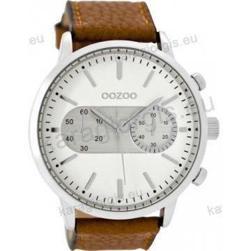 Ρολόι OOZOO timepieces ανδρικό-γυναικείο με καφέ δερμάτινο λουράκι σε ασημί  καντράν με ενδείξεις χρονογράφου 0ad928091e9