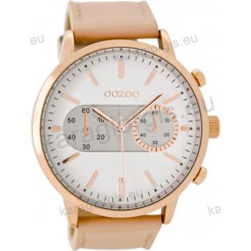 Ρολόι OOZOO timepieces ανδρικό-γυναικείο rose gold με ροζ δερμάτινο λουράκι  σε ασημί καντράν με ενδείξεις χρονογράφου 48mm C9056 e390462f03d