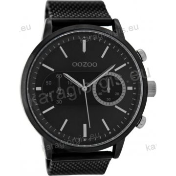 Ρολόι OOZOO timepieces ανδρικό-γυναικείο total black με ψάθα μπρασελέ σε  μαύρο καντράν με ενδείξεις χρονογράφου 48mm C9074 98831c2847b