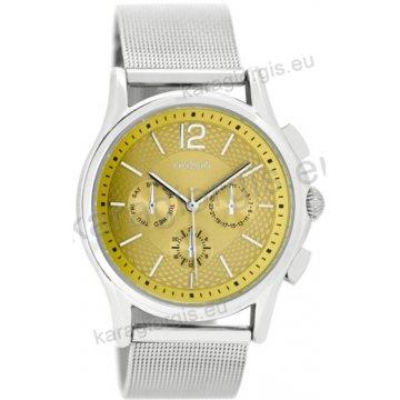 Ρολόι OOZOO timepieces ανδρικό-γυναικείο με μπρασελέ σε ψάθα και χρυσαφί  καντράν με ενδείξεις χρονογράφου 6a75e516d42