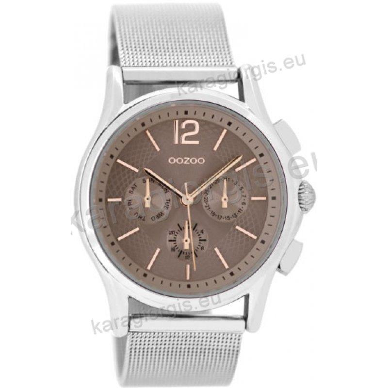Ρολόι OOZOO timepieces ανδρικό-γυναικείο με μπρασελέ σε ψάθα και γκρι  καντράν με ενδείξεις χρονογράφου c9f788d75d1
