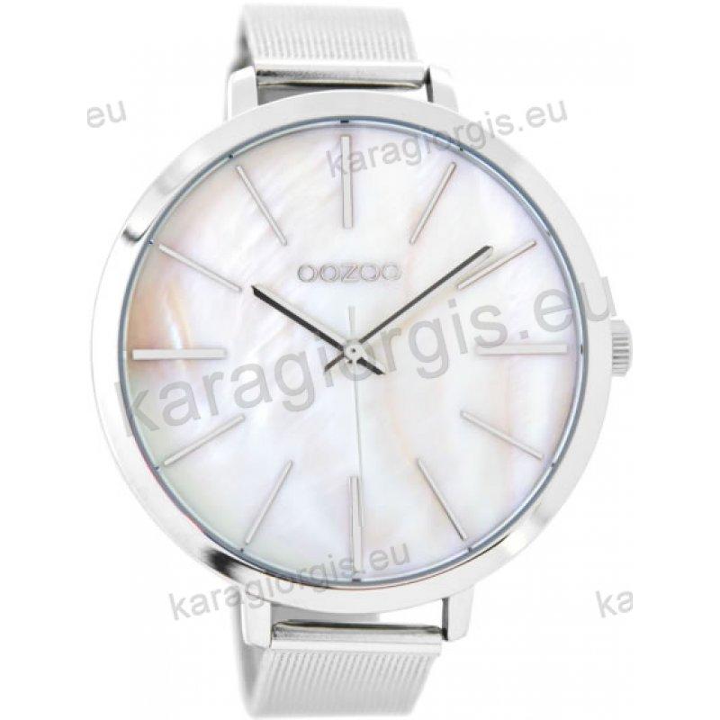 Ρολόι OOZOO timepieces ανδρικό-γυναικείο με μπρασελέ σε ψάθα και φίλντισι  καντράν 48mm 8d00063b1e8