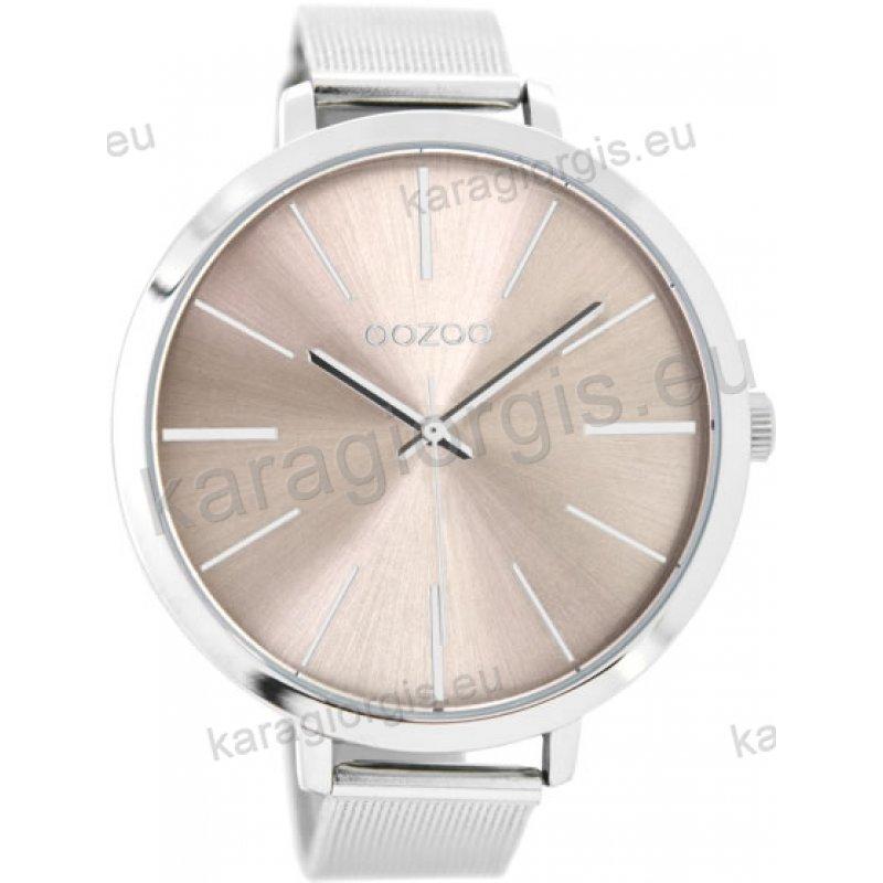 Ρολόι OOZOO timepieces ανδρικό-γυναικείο με μπρασελέ σε ψάθα και rose  καντράν 48mm 9940b8f1d2a