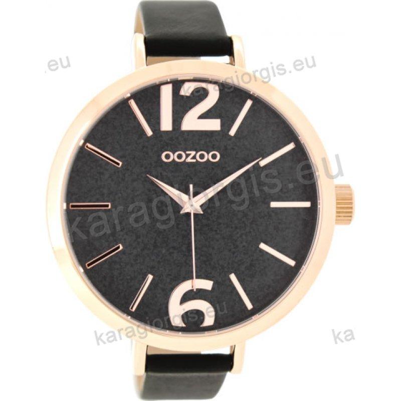 Ρολόι OOZOO timepieces γυναικείο rose gold με μαύρο δερμάτινο λουράκι και  μαύρο καντράν με gliter 48mm b8105ccb4c9
