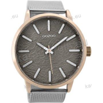 Ρολόι OOZOO timepieces ανδρικό-γυναικείο rose gold με ψάθα μπρασελέ και γκρι  σφυρήλατο καντράν 48mm 97bd763a9f8