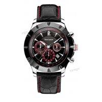 Ρολόι Pierre Lannier LIMITED χρονογράφος με μαύρο δερμάτινο λουράκι 45mm