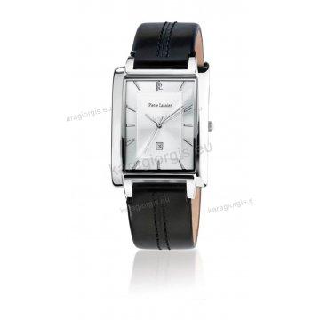 Ρολόι Pierre Lannier SLIM SQUARE με μαύρο δερμάτινο λουράκι 40mm
