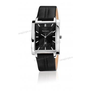 Ρολόι Pierre Lannier SLIM SQUARE με μαύρο δερμάτινο λουράκι 32*42mm