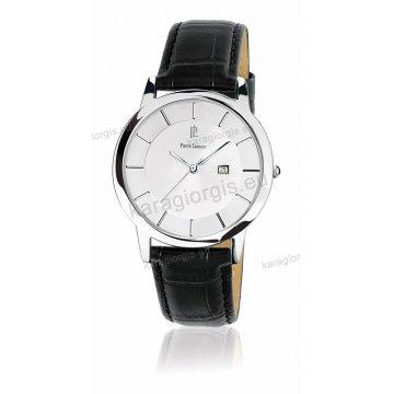 Ρολόι Pierre Lannier SLIM με μαύρο δερμάτινο λουράκι 40mm