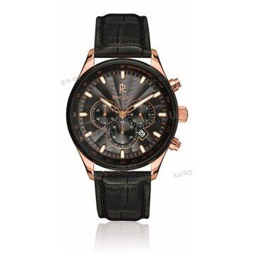 Ρολόι Pierre Lannier CHRONOGRAPH χρονογράφος rose gold ανδρικό με μαύρο δερμάτινο λουράκι 47mm