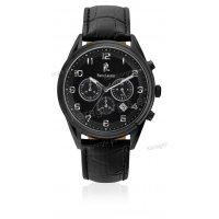 Ρολόι Pierre Lannier CHRONOGRAPH χρονογράφος total black ανδρικό με μαύρο δερμάτινο λουράκι 44mm