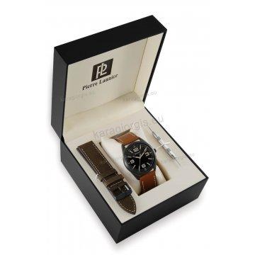 Ρολόι Pierre Lannier BOX SET με 2 καφέ-ταμπά δερμάτινα λουράκια 42mm