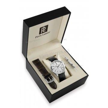 Ρολόι Pierre Lannier BOX SET χρονογράφος με 2 καφέ-μαύρο δερμάτινα λουράκια 44mm