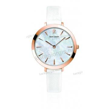 Ρολόι Pierre Lannier γυνακείο στρογγυλό rose gold με άσπρο δερμάτινο λουράκι και φίλντισι καντράν 36mm