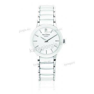 Ρολόι Pierre Lannier ceramic γυνακείο στρογγυλό με άσπρο κεραμικό μπρασελέ 28mm