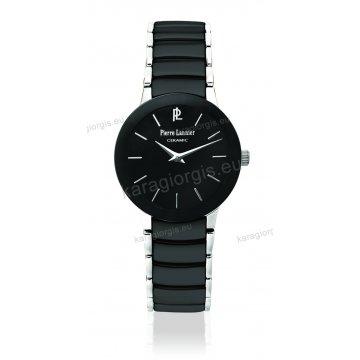 Ρολόι Pierre Lannier ceramic γυνακείο στρογγυλό με μαύρο κεραμικό μπρασελέ 28mm