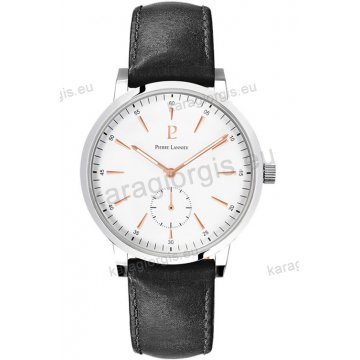 Ρολόι Pierre Lannier ανδρικό classic με μαύρο δερμάτινο λουράκι και άσπρο καντράν 40mm