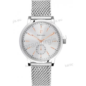 Ρολόι Pierre Lannier ανδρικό classic με ψάθα μπρασελέ και ασημί καντράν 40mm