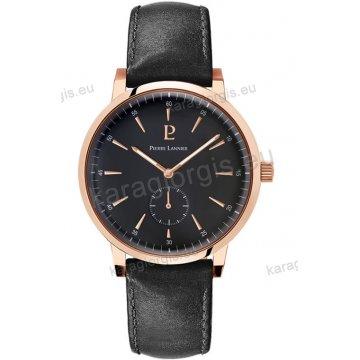Ρολόι Pierre Lannier ανδρικό classic rose gold με μαύρο δερμάτινο λουράκι και μαύρο καντράν 40mm