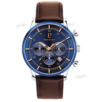 Ρολόι Pierre Lannier ανδρικό chronograph με καφέ δερμάτινο λουράκι και μπλέ καντράν με χρονογράφο ακριβείας 43mm