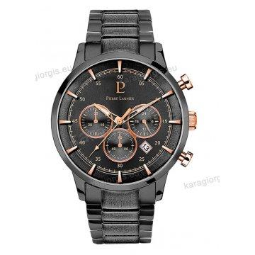 Ρολόι Pierre Lannier ανδρικό chronograph με μαύρο μπρασελέ και μαύρο καντράν με χρονογράφο ακριβείας 43mm