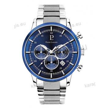 Ρολόι Pierre Lannier ανδρικό chronograph με μπρασελέ και μπλέ καντράν με χρονογράφο ακριβείας 43mm