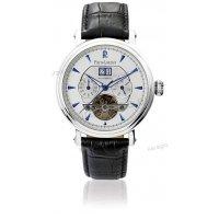 Ρολόι Pierre Lannier ανδρικό automatic με μαύρο δερμάτινο λουράκι και άσπρο καντράν 42mm