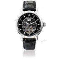 Ρολόι Pierre Lannier ανδρικό automatic με μαύρο δερμάτινο λουράκι και μαύρο καντράν 42mm
