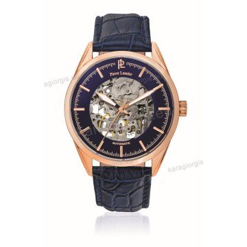 Ρολόι Pierre Lannier ανδρικό automatic rose gold με μαύρο δερμάτινο λουράκι και μαύρο καντράν 43mm