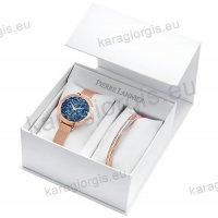Ρολόι Pierre Lannier γυνακείο box set rose gold με έξτρα βραχιόλι και μπλέ πέτρες swarovski στο καντράν 36mm