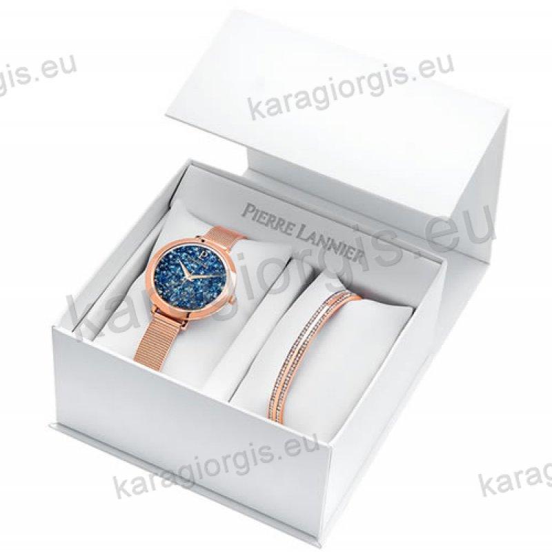 Ρολόι Pierre Lannier γυνακείο box set rose gold με έξτρα βραχιόλι και μπλέ  πέτρες swarovski στο c5e78b9e315