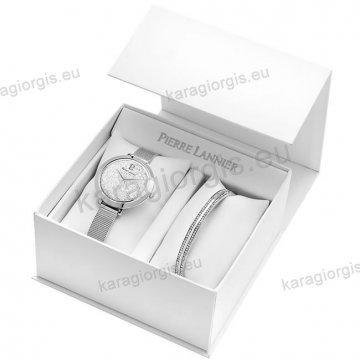 Ρολόι Pierre Lannier γυνακείο box set με έξτρα βραχιόλι και πέτρες swarovski στο καντράν 36mm