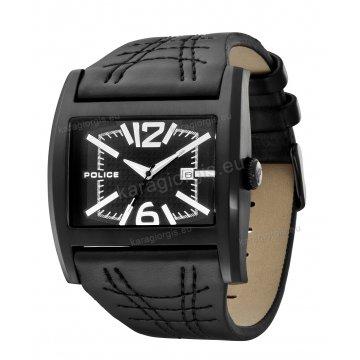 Ρολόι POLICE με μαύρο δερμάτινο λουράκι και μαύρη κάσα 45mm*59mm