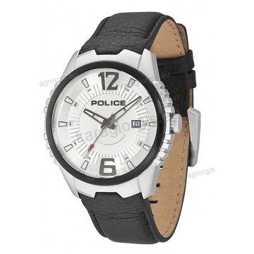 Ρολόι POLICE με μαύρο δερμάτινο λουράκι 46mm*52mm