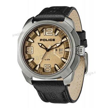Ρολόι POLICE με μαύρο δερμάτινο λουράκι 46mm