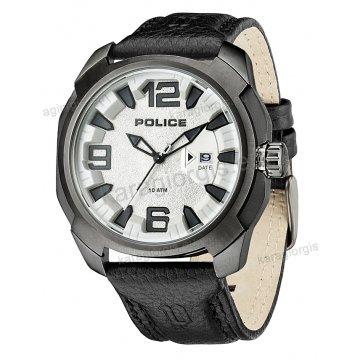 Ρολόι POLICE με μαύρο δερμάτινο λουράκι μαύρη κάσα 46mm