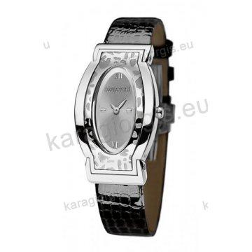 Ρολόι Roberto Cavalli γυναικείο τετράγωνο με επίχρυση κάσα και καφέ λουστρέ δερμάτινο λουράκι 28*42mm